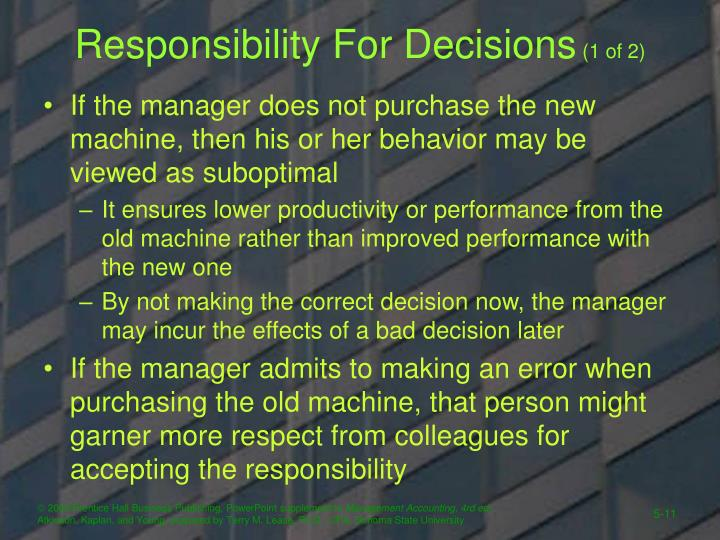 Responsibility For Decisions