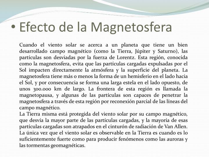 Efecto de la Magnetosfera