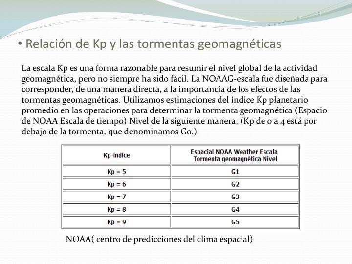 Relación de Kp y las tormentas geomagnéticas
