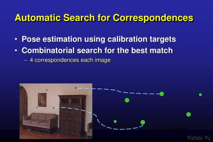 Automatic Search for Correspondences