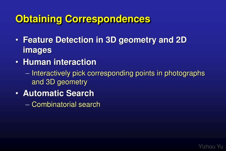 Obtaining Correspondences