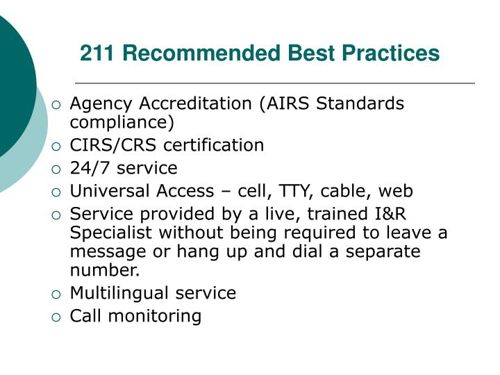 211 Recommended Best Practices