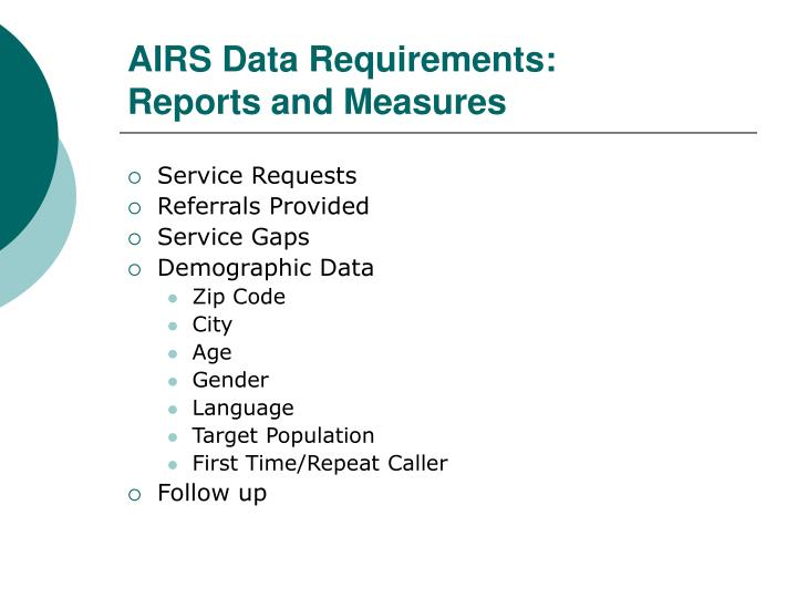 AIRS Data Requirements: