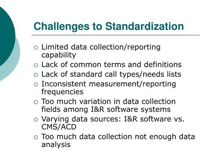 Challenges to Standardization