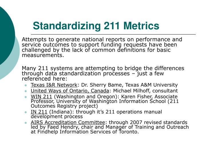 Standardizing 211 Metrics
