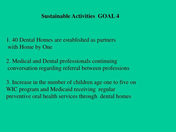 Sustainable Activities  GOAL 4