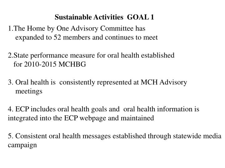 Sustainable Activities  GOAL 1