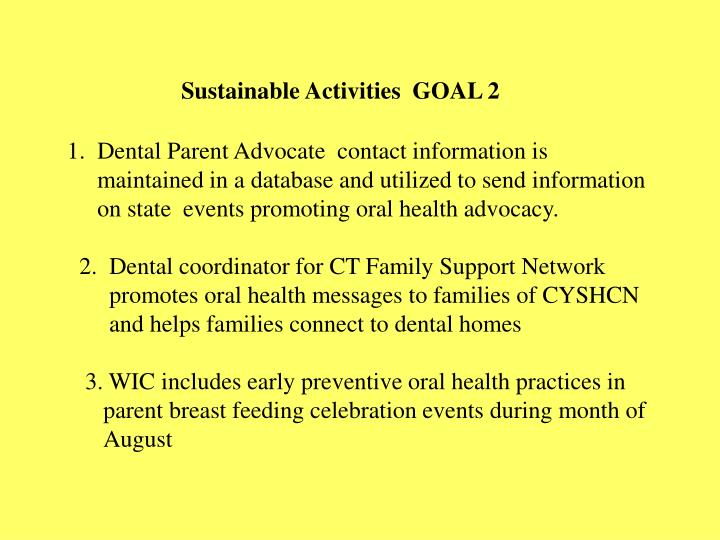 Sustainable Activities  GOAL 2