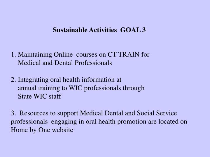 Sustainable Activities  GOAL 3
