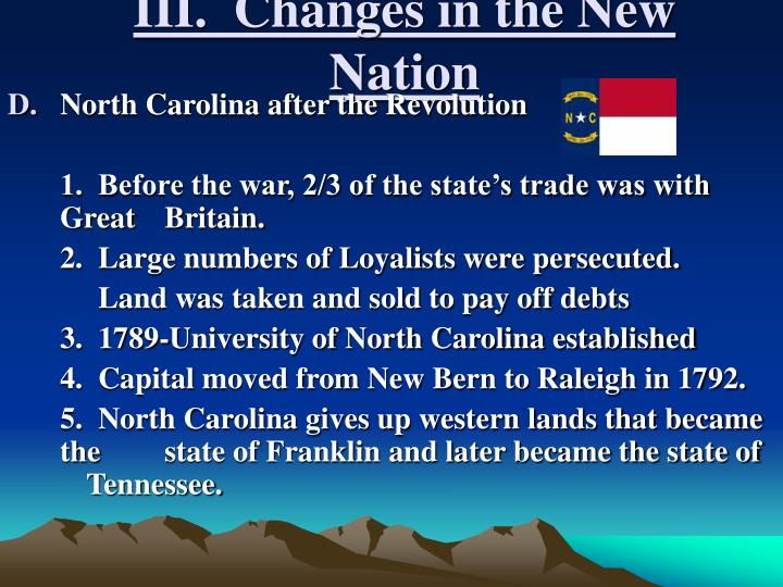 III.  Changes in the New Nation