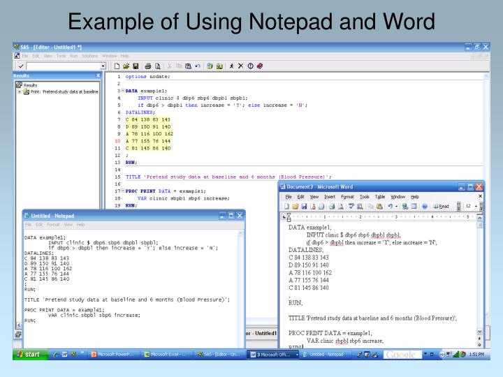 Example of Using Notepad and Word