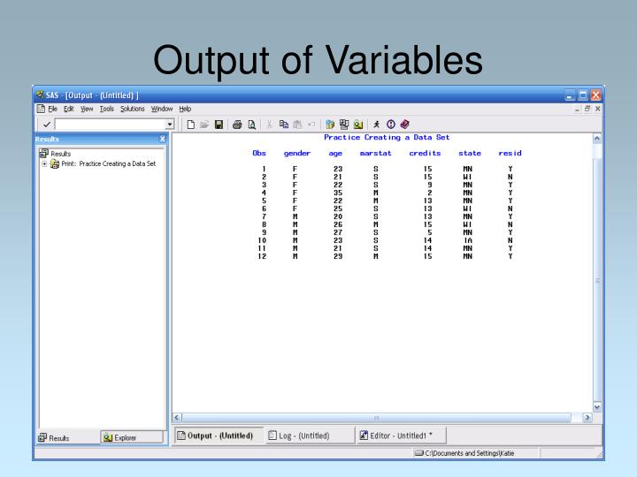 Output of Variables
