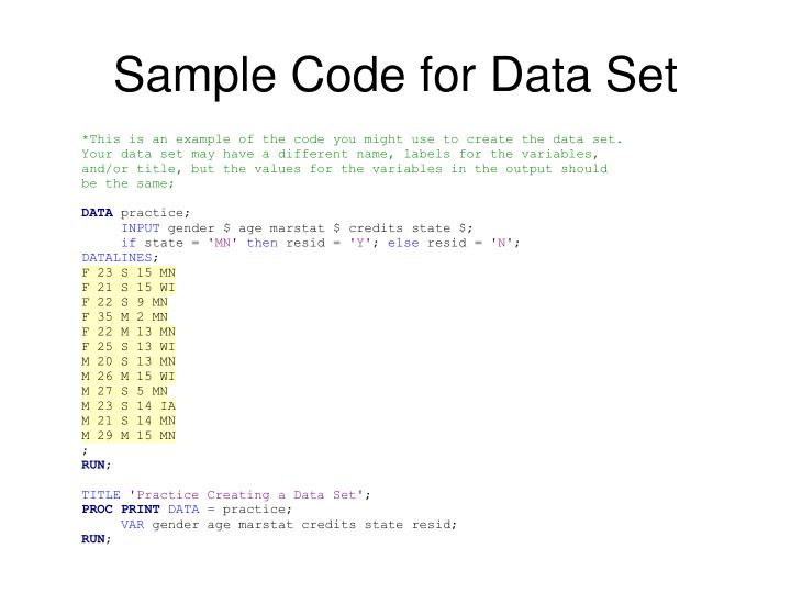 Sample Code for Data Set