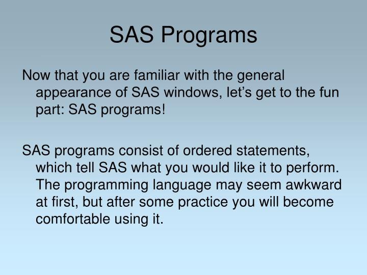SAS Programs
