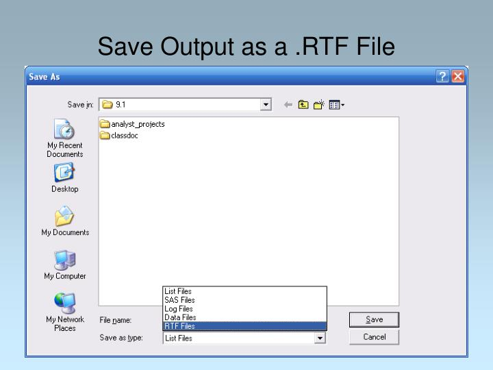 Save Output as a .RTF File