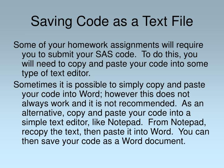 Saving Code as a Text File