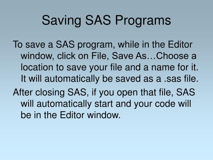 Saving SAS Programs