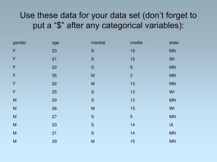 "Use these data for your data set (don't forget to put a ""$"" after any categorical variables):"