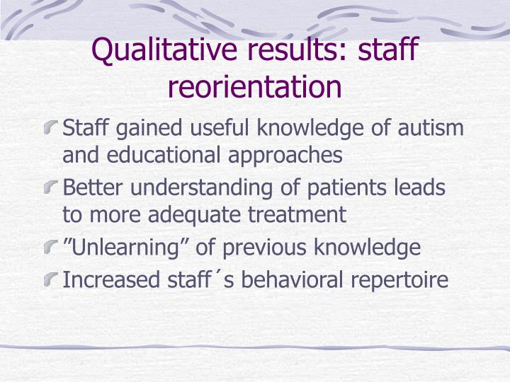 Qualitative results: staff reorientation