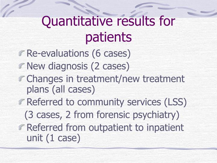 Quantitative results for patients