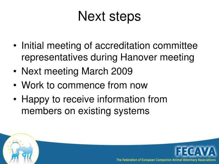 Initial meeting of accreditation committee representatives during Hanover meeting