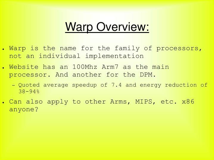 Warp Overview: