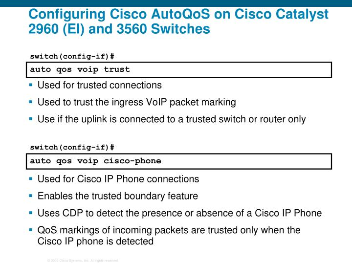 Configuring Cisco AutoQoS on Cisco Catalyst 2960 (EI) and 3560 Switches