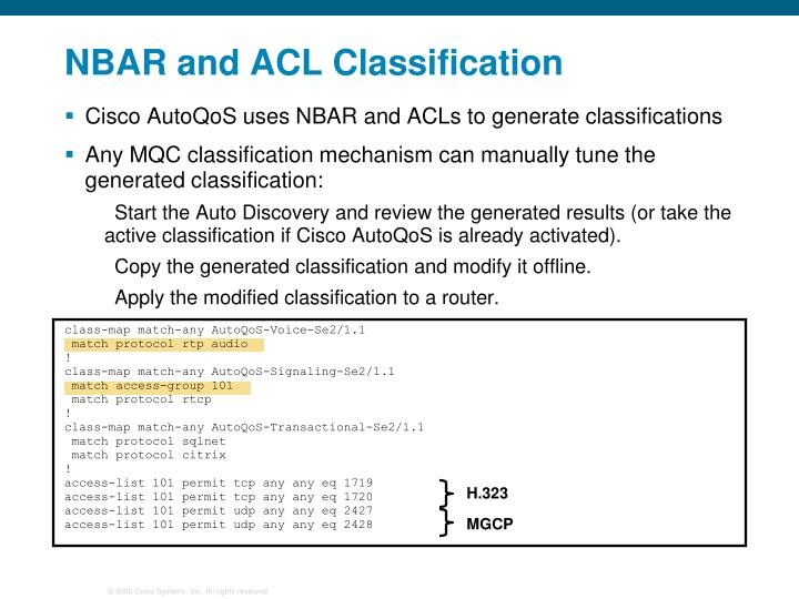 NBAR and ACL Classification
