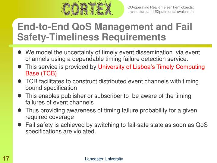 End-to-End QoS Management and Fail Safety-Timeliness Requirements