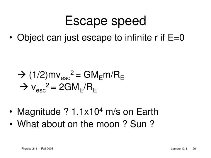 Escape speed