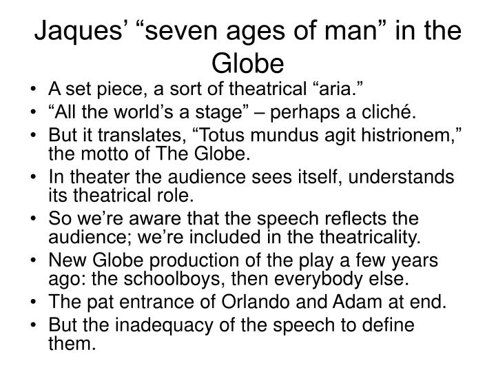 "Jaques' ""seven ages of man"" in the Globe"