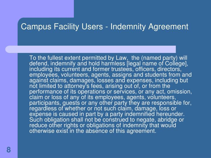 Campus Facility Users - Indemnity Agreement