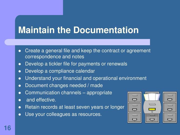 Maintain the Documentation