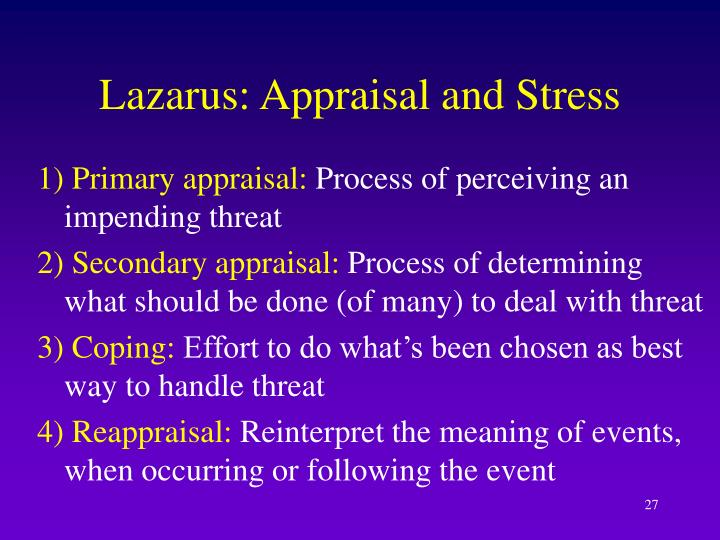 Lazarus: Appraisal and Stress