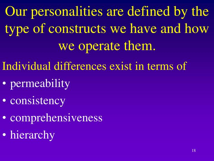 Our personalities are defined by the type of constructs we have and how we operate them.