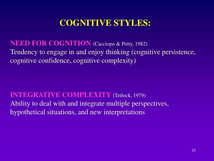 COGNITIVE STYLES: