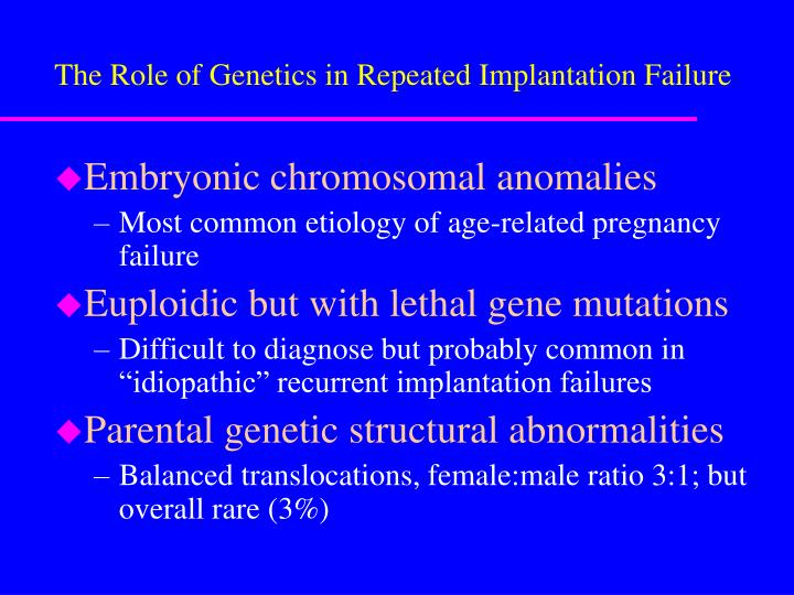 The Role of Genetics in Repeated Implantation Failure