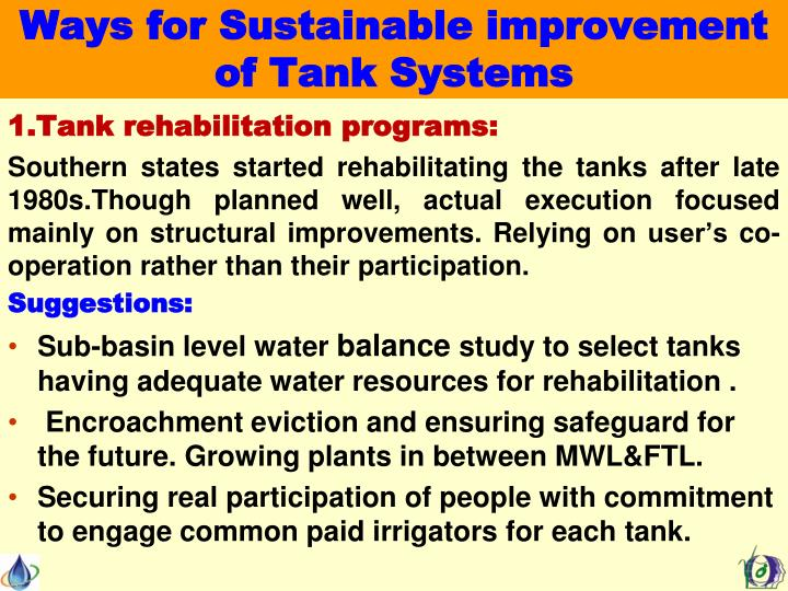 Ways for Sustainable improvement of Tank Systems