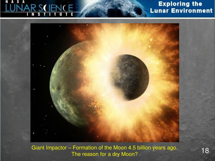 Giant Impactor – Formation of the Moon 4.5 billion years ago.