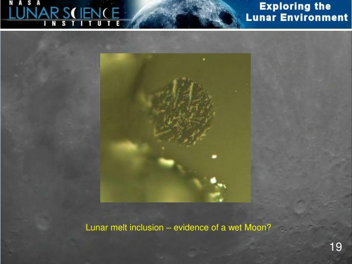 Lunar melt inclusion – evidence of a wet Moon?