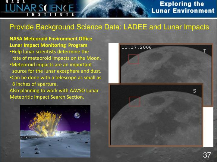 Provide Background Science Data: LADEE and Lunar Impacts
