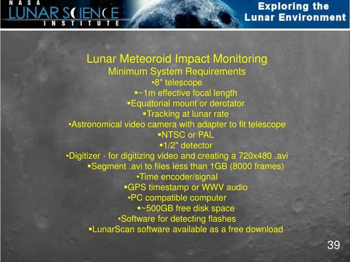 Lunar Meteoroid Impact Monitoring