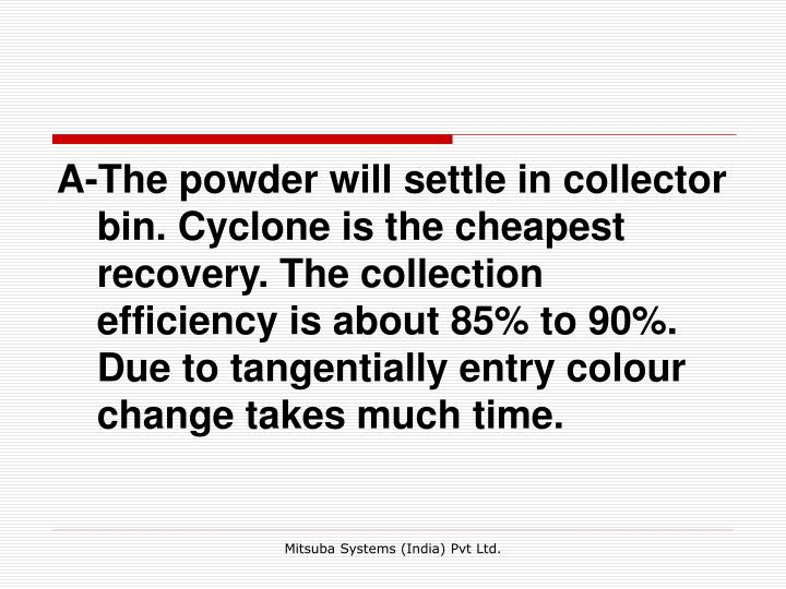 A-The powder will settle in collector bin. Cyclone is the cheapest recovery. The collection efficiency is about 85% to 90%. Due to tangentially entry colour change takes much time.