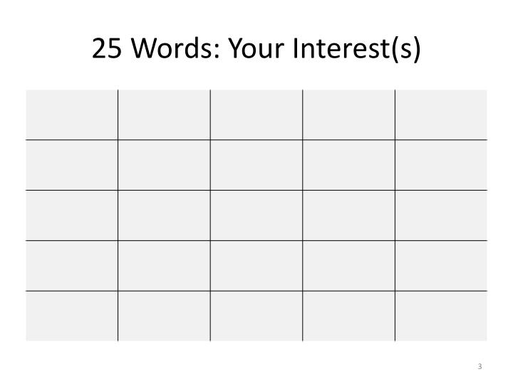 25 Words: Your Interest(s)