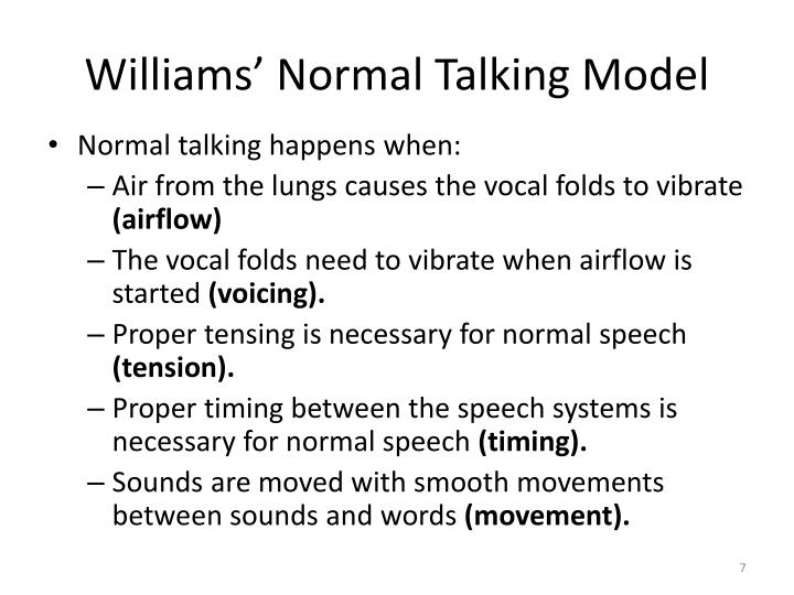 Williams' Normal Talking Model