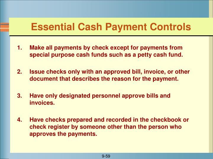 Essential Cash Payment Controls