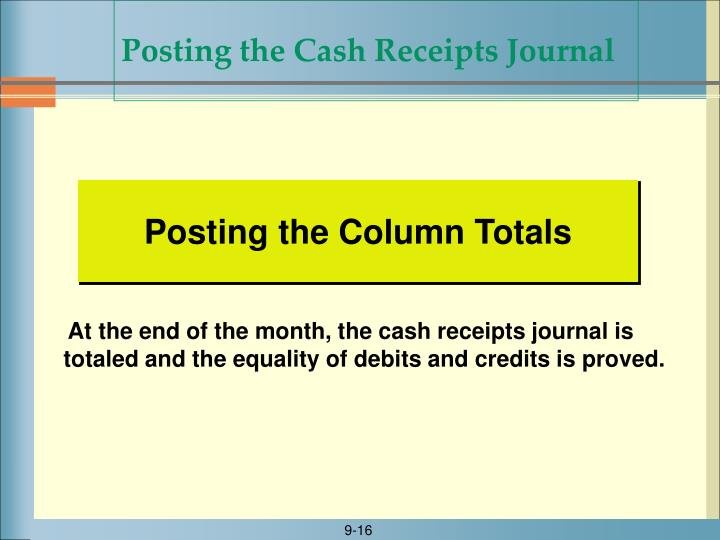 Posting the Cash Receipts Journal