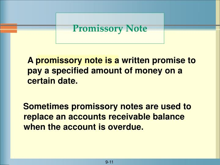 A promissory note is a written promise to pay a specified amount of money on a certain date.