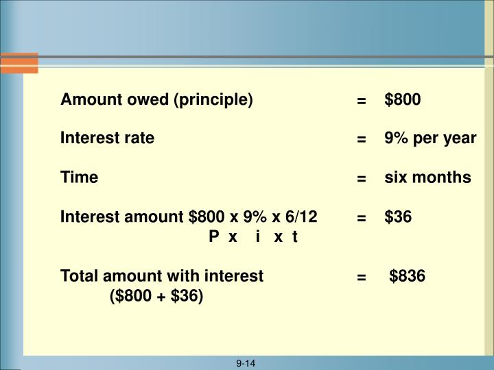 Interest rate					=    9% per year