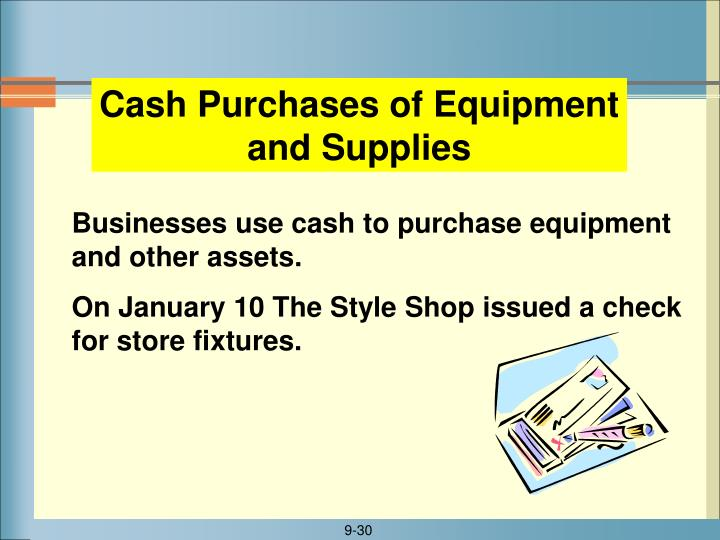Cash Purchases of Equipment and Supplies